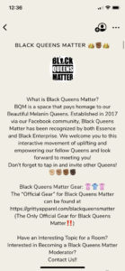 Black Queens matter clubhouse room