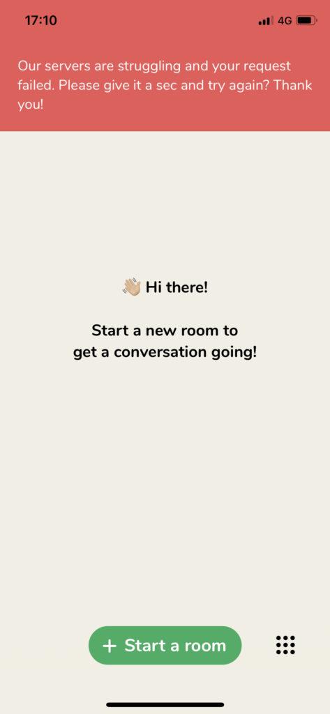 Clubhouse schermata start a new room